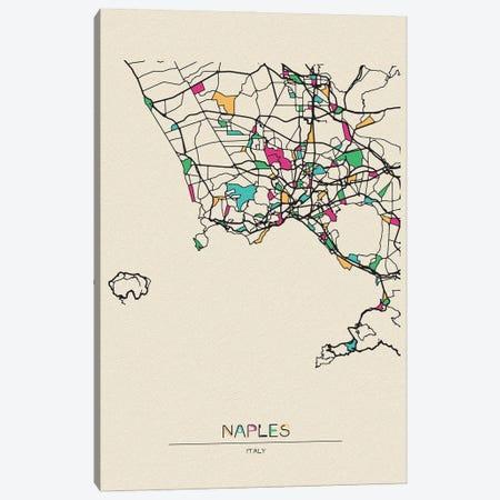 Naples, Italy Map Canvas Print #ADA576} by Ayse Deniz Akerman Canvas Wall Art