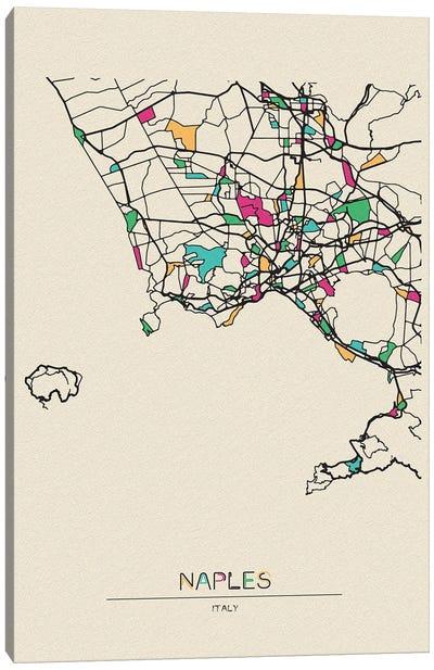 Naples, Italy Map Canvas Art Print