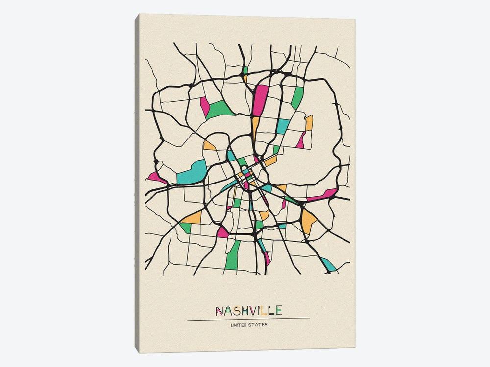 Nashville, Tennessee Map by Ayse Deniz Akerman 1-piece Canvas Art Print