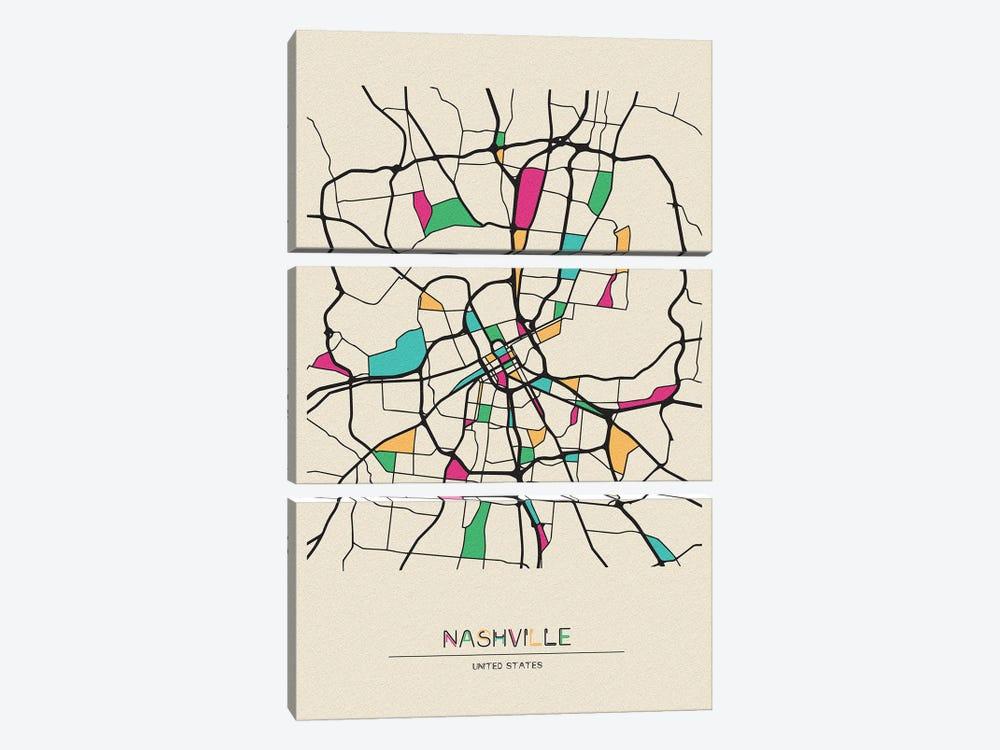 Nashville, Tennessee Map by Ayse Deniz Akerman 3-piece Art Print