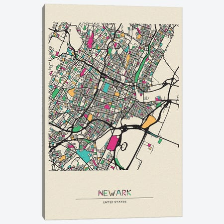 Newark, New Jersey Map Canvas Print #ADA578} by Ayse Deniz Akerman Canvas Art Print