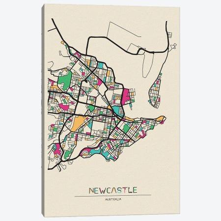 Newcastle, Australia Map Canvas Print #ADA579} by Ayse Deniz Akerman Canvas Art Print