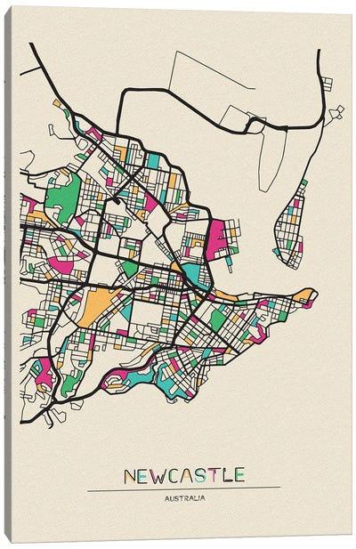 Newcastle, Australia Map Canvas Art Print