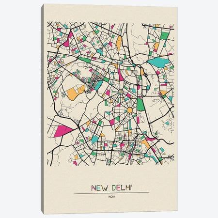 New Delhi, India Map Canvas Print #ADA581} by Ayse Deniz Akerman Canvas Art