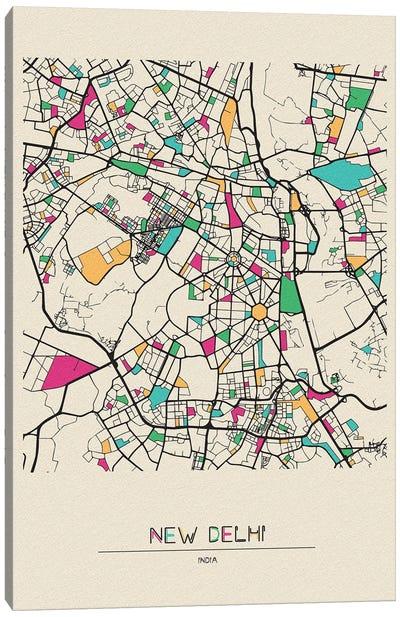New Delhi, India Map Canvas Art Print