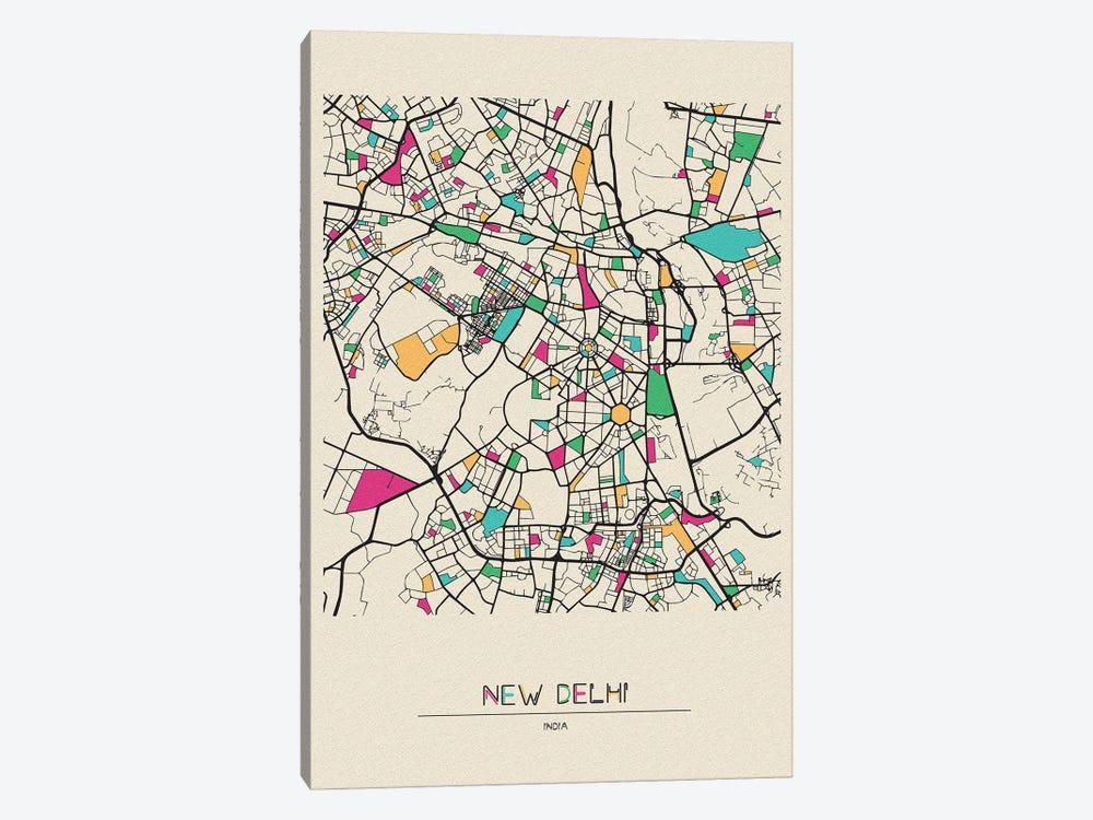 New Delhi, India Map by Ayse Deniz Akerman 1-piece Canvas Art