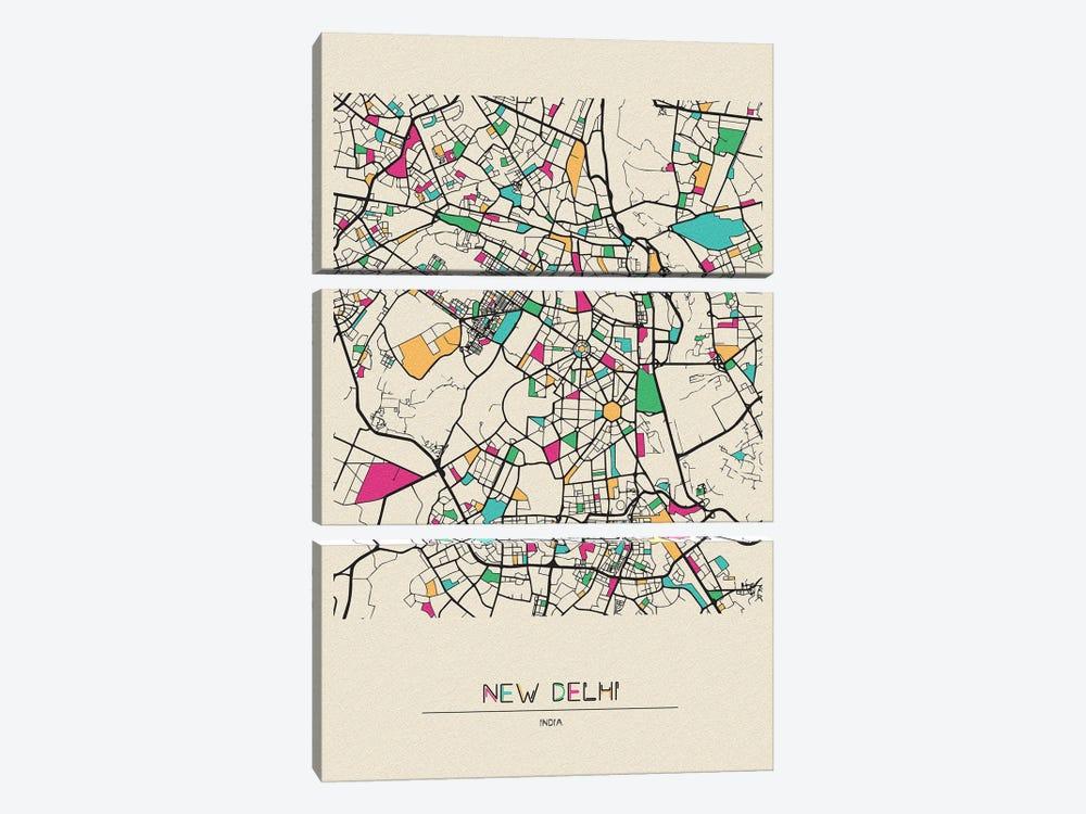 New Delhi, India Map by Ayse Deniz Akerman 3-piece Canvas Wall Art