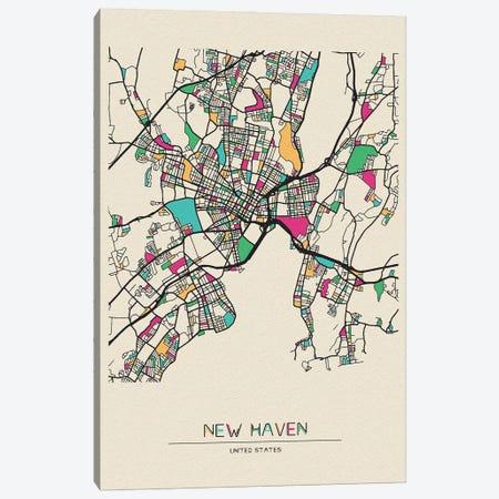 New Haven, Connecticut Map Canvas Print #ADA582} by Ayse Deniz Akerman Canvas Artwork