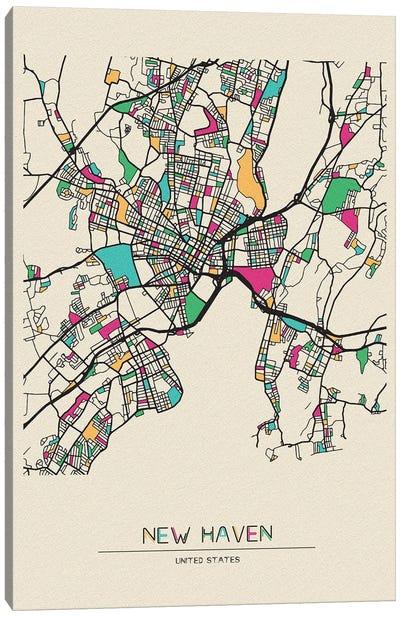 New Haven, Connecticut Map Canvas Art Print