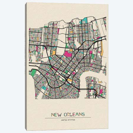 New Orleans, Louisiana Map Canvas Print #ADA583} by Ayse Deniz Akerman Canvas Art