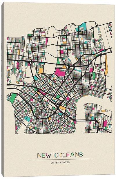 New Orleans, Louisiana Map Canvas Art Print