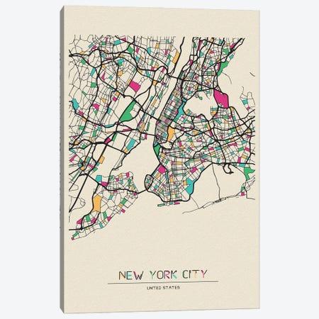 New York City, US Map Canvas Print #ADA584} by Ayse Deniz Akerman Art Print