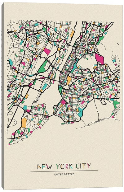 New York City, US Map Canvas Art Print