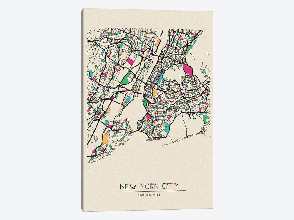 New York City, US Map by Ayse Deniz Akerman 1-piece Canvas Art Print