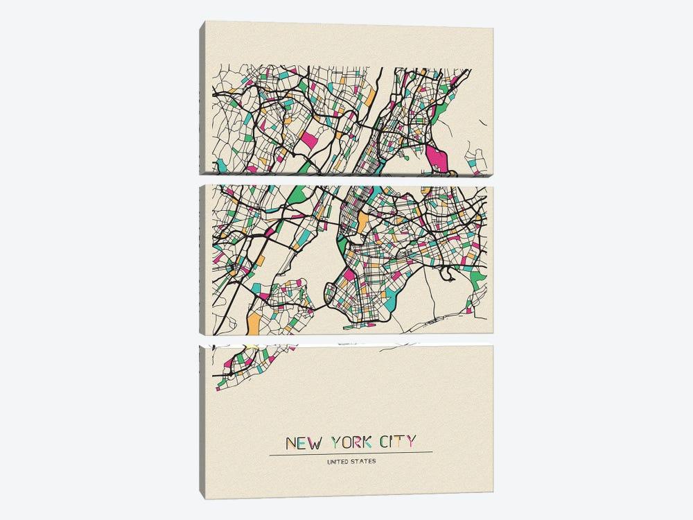 New York City, US Map by Ayse Deniz Akerman 3-piece Canvas Art Print