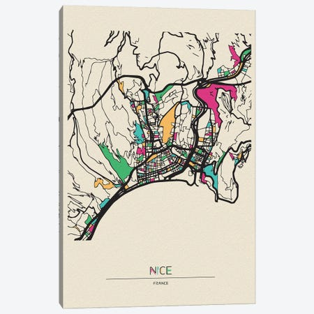 Nice, France Map Canvas Print #ADA585} by Ayse Deniz Akerman Canvas Art Print