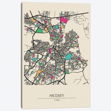 Nicosia, Cyprus Map Canvas Print #ADA586} by Ayse Deniz Akerman Canvas Print