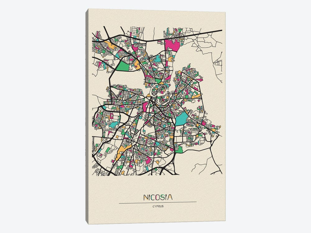 Nicosia, Cyprus Map 1-piece Canvas Art Print
