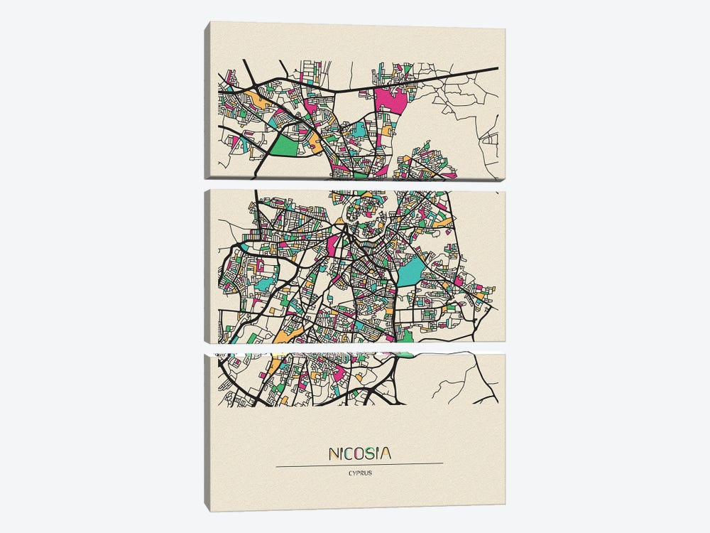 Nicosia, Cyprus Map 3-piece Canvas Print
