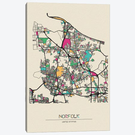 Norfolk, Virginia Map Canvas Print #ADA587} by Ayse Deniz Akerman Canvas Art Print