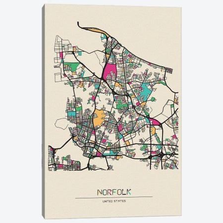 Norfolk, Virginia Map Canvas Print #ADA587} by Ayse Deniz Akerman Canvas Art Print