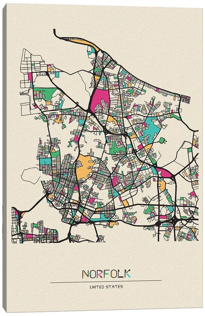 Norfolk, Virginia Map Canvas Art Print