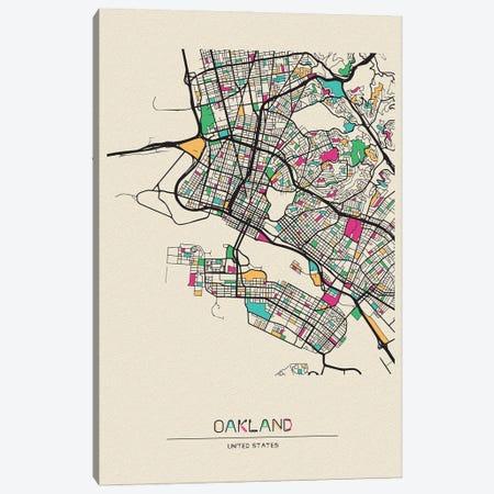 Oakland, California Map Canvas Print #ADA588} by Ayse Deniz Akerman Canvas Art