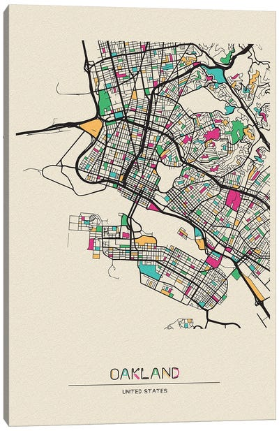 Oakland, California Map Canvas Art Print