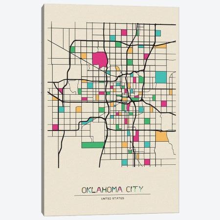 Oklahoma City, USA Map Canvas Print #ADA589} by Ayse Deniz Akerman Canvas Wall Art