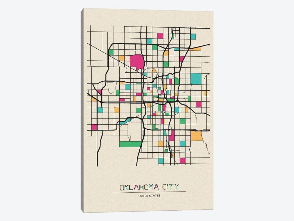 Oklahoma City, USA Map by Ayse Deniz Akerman 1-piece Canvas Artwork