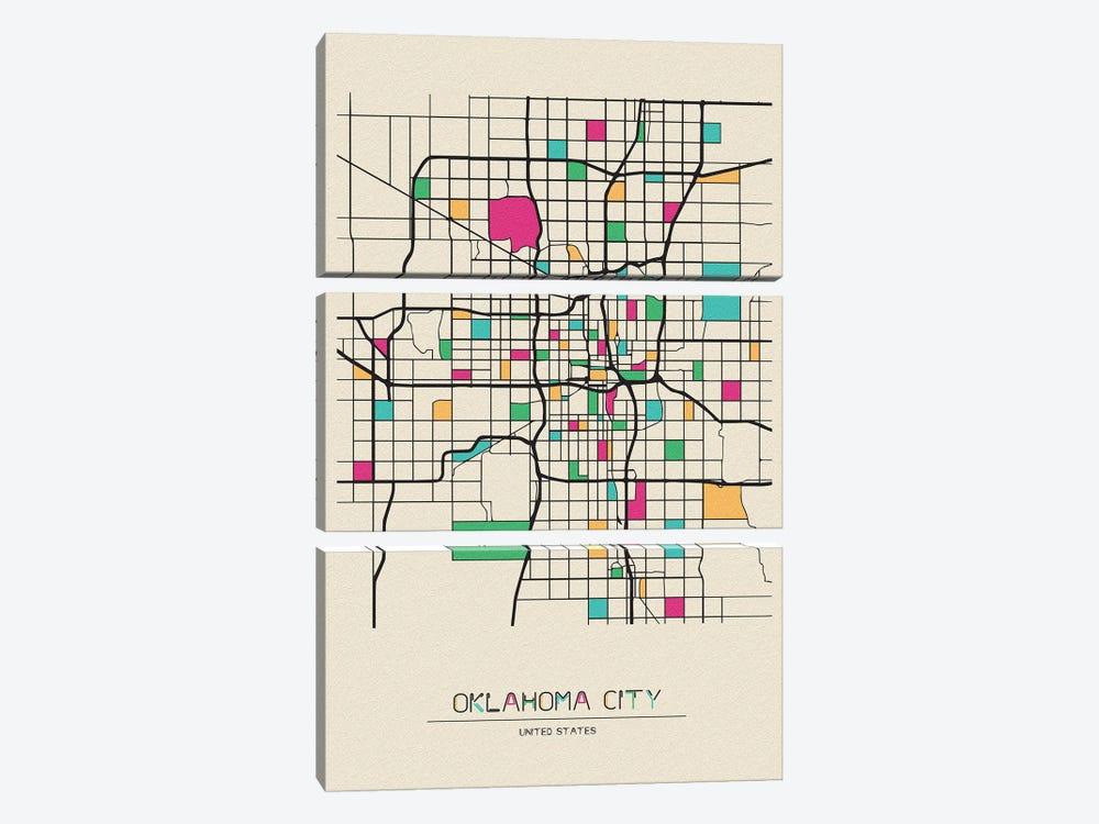 Oklahoma City, USA Map by Ayse Deniz Akerman 3-piece Canvas Art