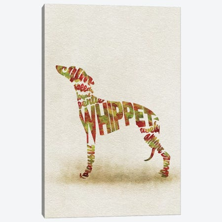 Whippet Canvas Print #ADA58} by Ayse Deniz Akerman Canvas Artwork