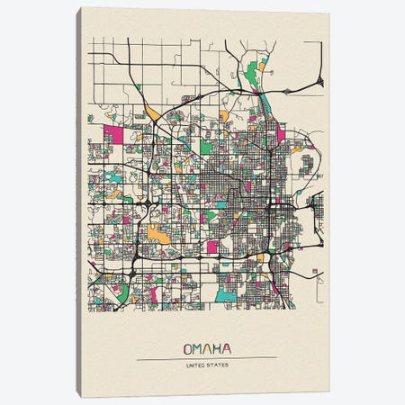 Omaha, Nebraska Map Canvas Print #ADA591} by Ayse Deniz Akerman Art Print