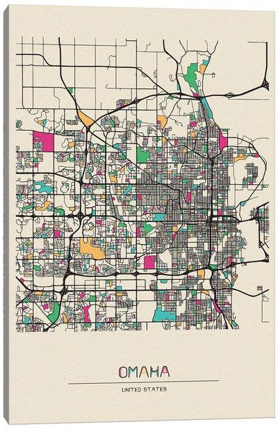 Omaha, Nebraska Map Canvas Art Print