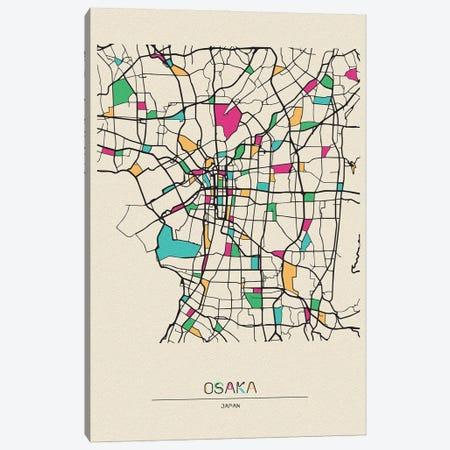 Osaka, Japan Map Canvas Print #ADA593} by Ayse Deniz Akerman Art Print