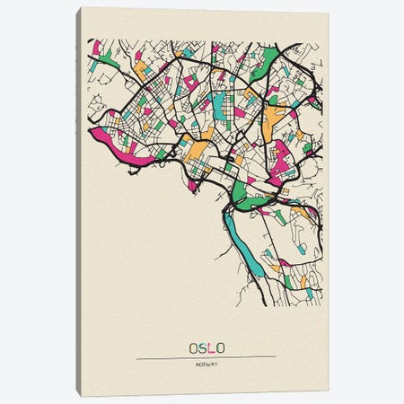 Oslo, Norway Map Canvas Print #ADA594} by Ayse Deniz Akerman Canvas Wall Art