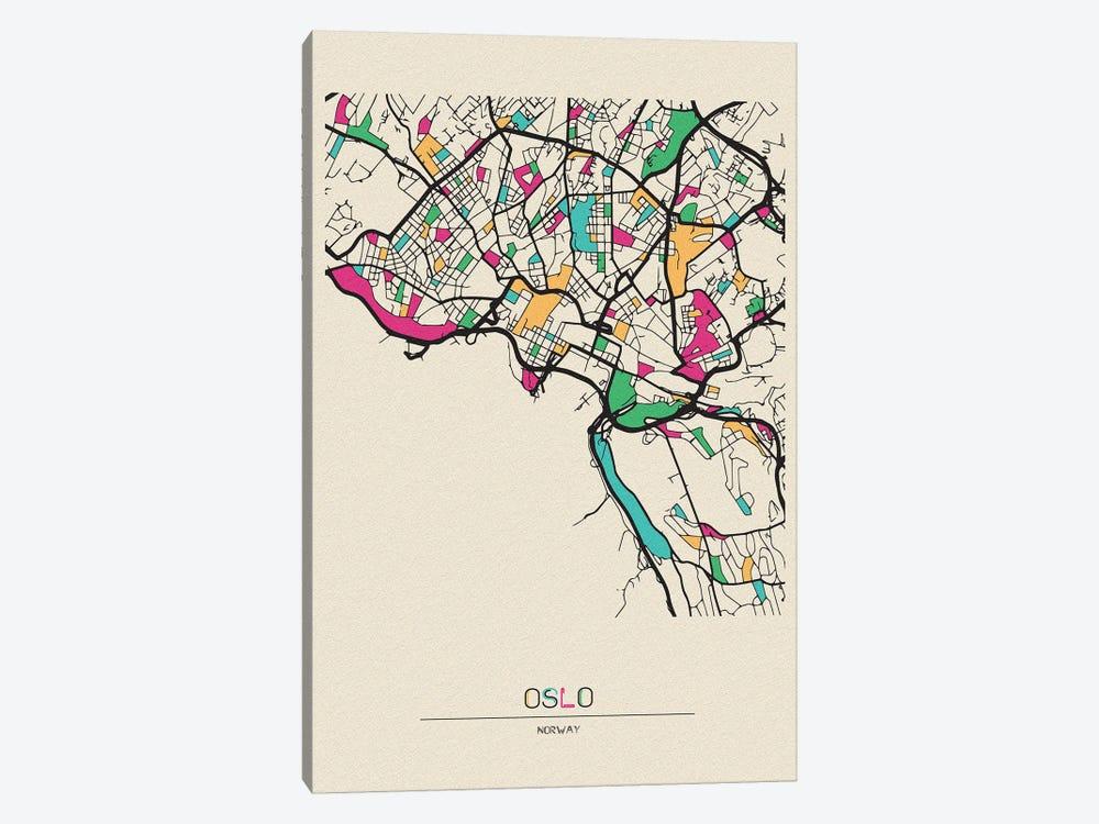 Oslo, Norway Map by Ayse Deniz Akerman 1-piece Canvas Artwork
