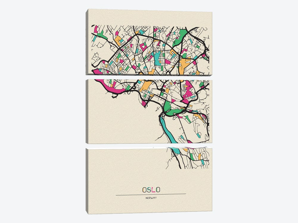 Oslo, Norway Map by Ayse Deniz Akerman 3-piece Canvas Artwork