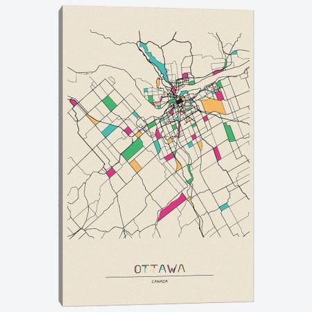 Ottawa, Canada Map Canvas Print #ADA595} by Ayse Deniz Akerman Canvas Artwork
