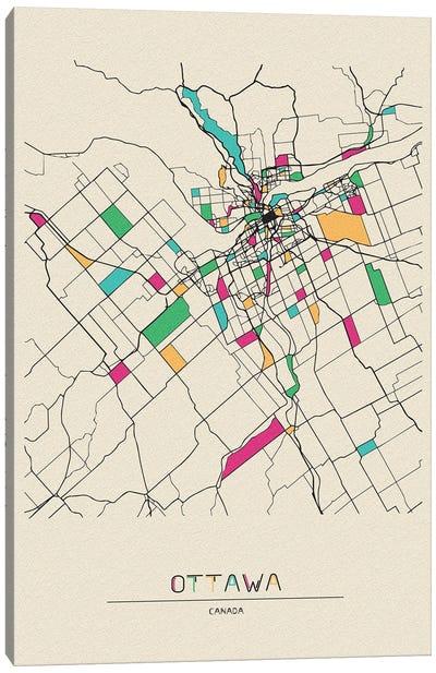 Ottawa, Canada Map Canvas Art Print