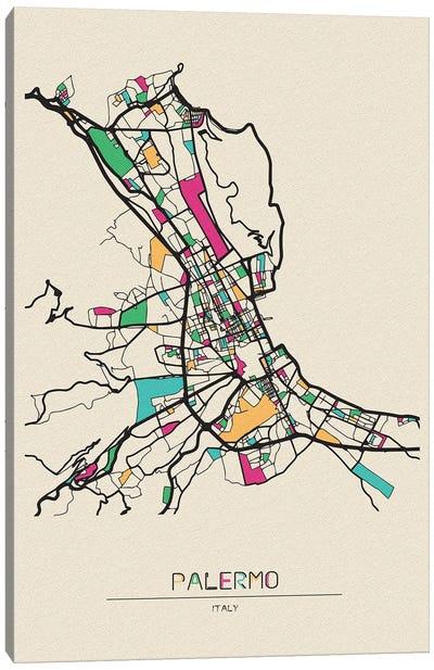 Palermo, Italy Map Canvas Art Print