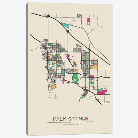 Palm Springs, California Map Canvas Print #ADA597} by Ayse Deniz Akerman Canvas Art