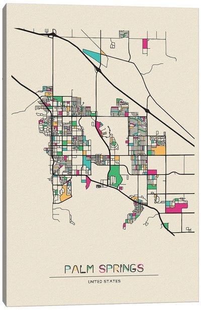 Palm Springs, California Map Canvas Art Print