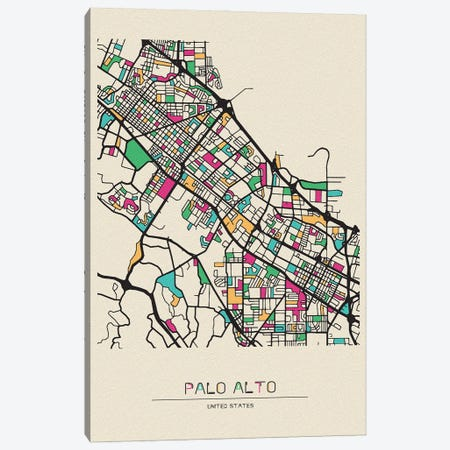 Palo Alto, California Map Canvas Print #ADA598} by Ayse Deniz Akerman Canvas Art Print