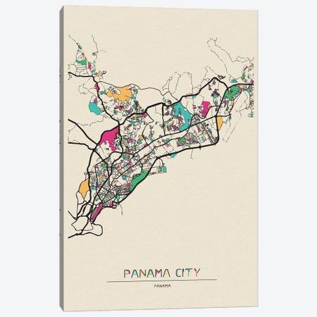 Panama City Map Canvas Print #ADA599} by Ayse Deniz Akerman Canvas Print