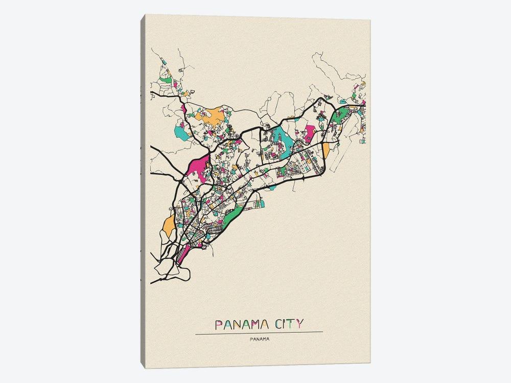Panama City Map by Ayse Deniz Akerman 1-piece Canvas Print