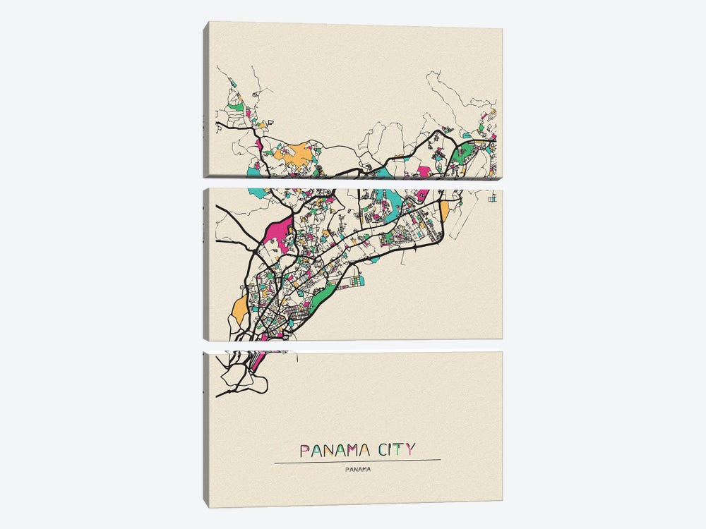 Panama City Map by Ayse Deniz Akerman 3-piece Canvas Art Print
