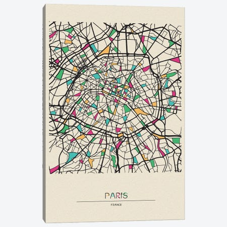 Paris, France Map Canvas Print #ADA600} by Ayse Deniz Akerman Art Print
