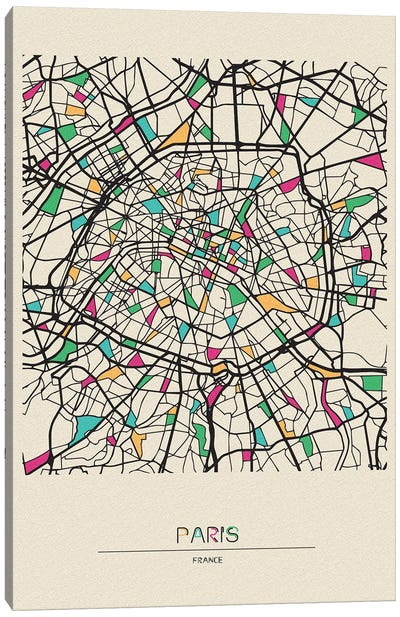 Paris, France Map Canvas Art Print