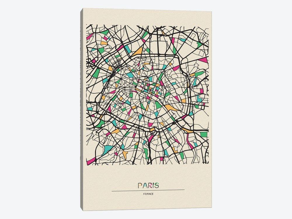 Paris, France Map by Ayse Deniz Akerman 1-piece Canvas Art Print